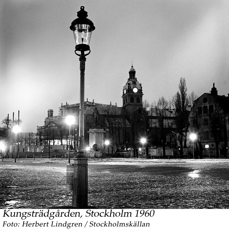 Kungsträdgården 1960 med Jakobs kyrka och Operan i bakgrunden. Lindgren, Herbert